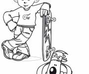 Coloring pages Little Child Skateboarder
