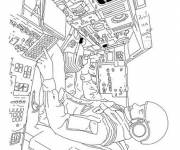 Coloring pages Astronaut in The Shuttle