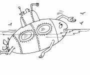 Free coloring and drawings Humorous submarine Coloring page