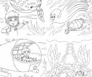 Coloring pages Little explorer of the seabed