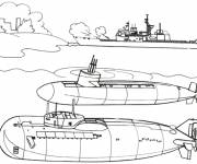 Coloring pages Military boat and submarines