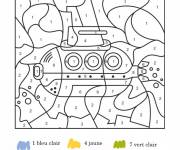 Free coloring and drawings Numbered submarine Coloring page