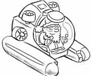 Free coloring and drawings Scientist explores the seabed Coloring page