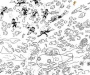 Coloring pages Submarine under the sea