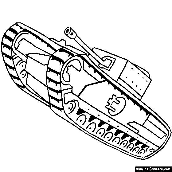 Free coloring and drawings Color military tank Coloring page