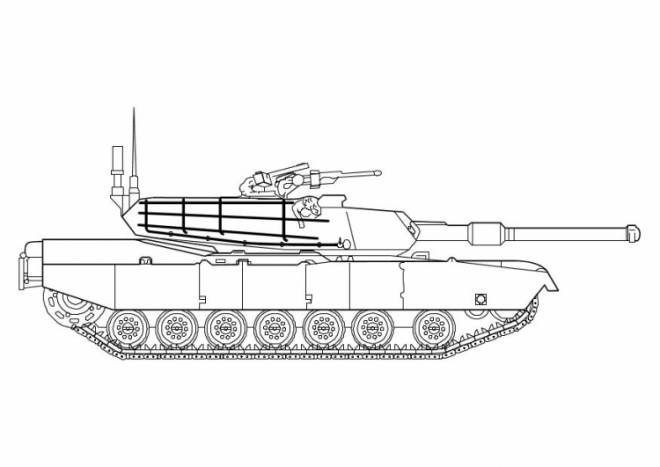 Free coloring and drawings Easy American tank Coloring page