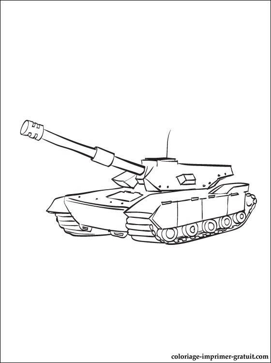 Free coloring and drawings Easy Combat Tank Coloring page