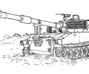 Coloring pages Easy military tank