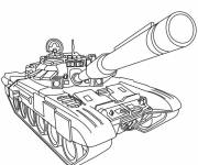 Coloring pages Military tank in black and white