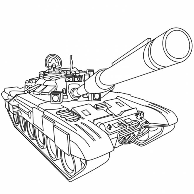 Free coloring and drawings Military tank in black and white Coloring page