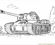Coloring pages Military tank on the ground