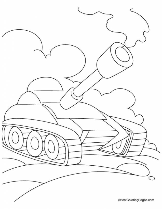 Free coloring and drawings Powerful tank easy Coloring page