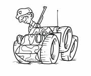 Coloring pages Soldier on small military vehicle