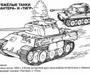 Coloring pages Soviet tank in action