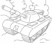 Coloring pages Stylized tank in black and white