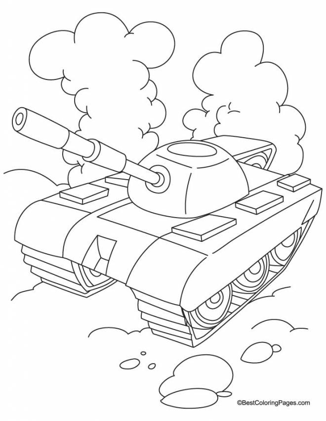 Free coloring and drawings Stylized tank in black and white Coloring page