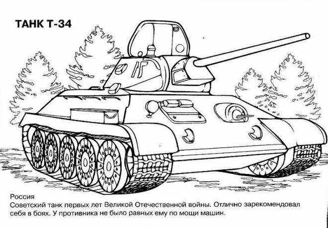 Free coloring and drawings TAHK T-34 War Tank Coloring page