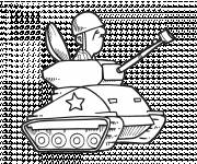 Coloring pages Tank and funny soldier