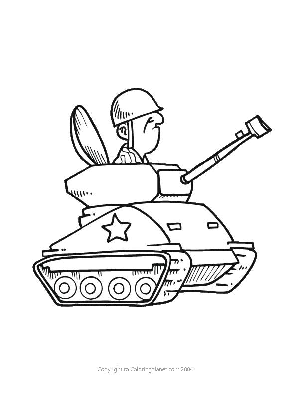 Free coloring and drawings Tank and funny soldier Coloring page