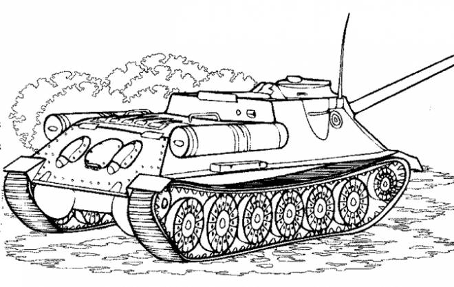 Free coloring and drawings Tank battle Coloring page