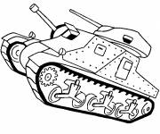 Coloring pages Tank battle in black and white