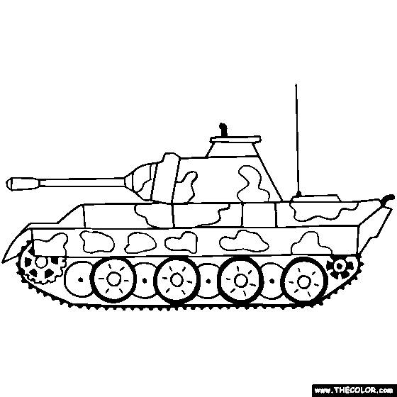 Free coloring and drawings Tank front view Coloring page