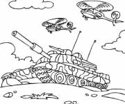 Coloring pages Tank in battle