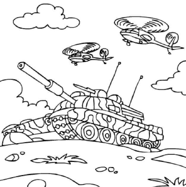 Free coloring and drawings Tank in battle Coloring page