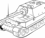 Coloring pages Tank in black and white