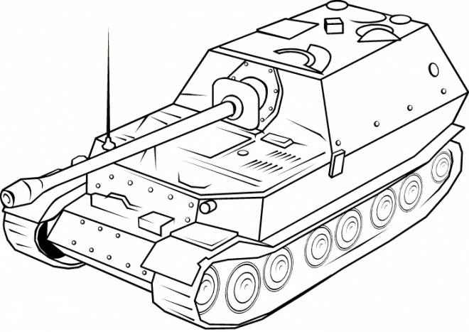 Free coloring and drawings Tank in black and white Coloring page
