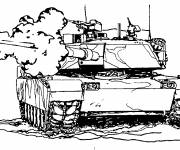 Coloring pages Tank launches the bomb