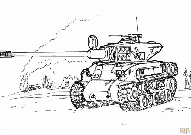 Free coloring and drawings World war tank Coloring page