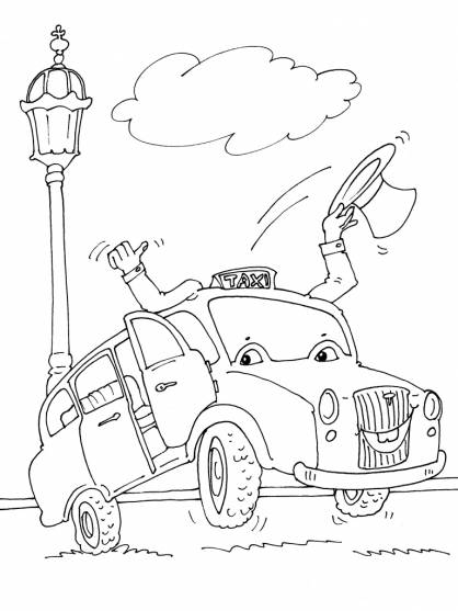 Free coloring and drawings A cartoon taxi Coloring page