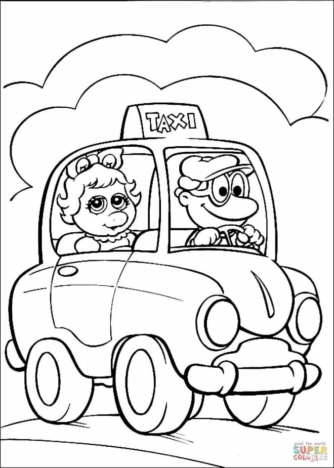 Free coloring and drawings A magic taxi Coloring page