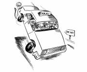 Free coloring and drawings Humorous taxi Coloring page