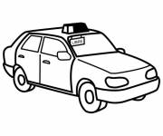 Free coloring and drawings Taxi coloring in Yellow Coloring page