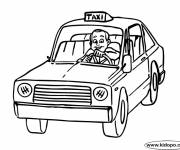 Free coloring and drawings The driver and Taxi Coloring page