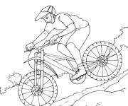Coloring pages A cyclist in the Mountain