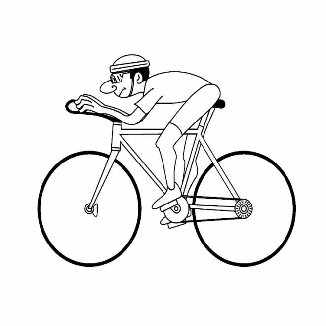 Free coloring and drawings A cyclist in the race Coloring page