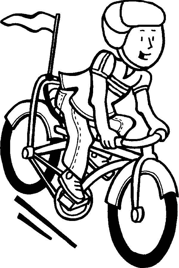 Free coloring and drawings A cyclist on his bike Coloring page