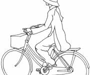 Coloring pages A girl on her bicycle