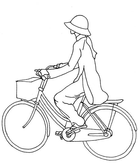 Free coloring and drawings A girl on her bicycle Coloring page