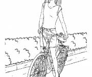 Coloring pages Barbie on her Bike