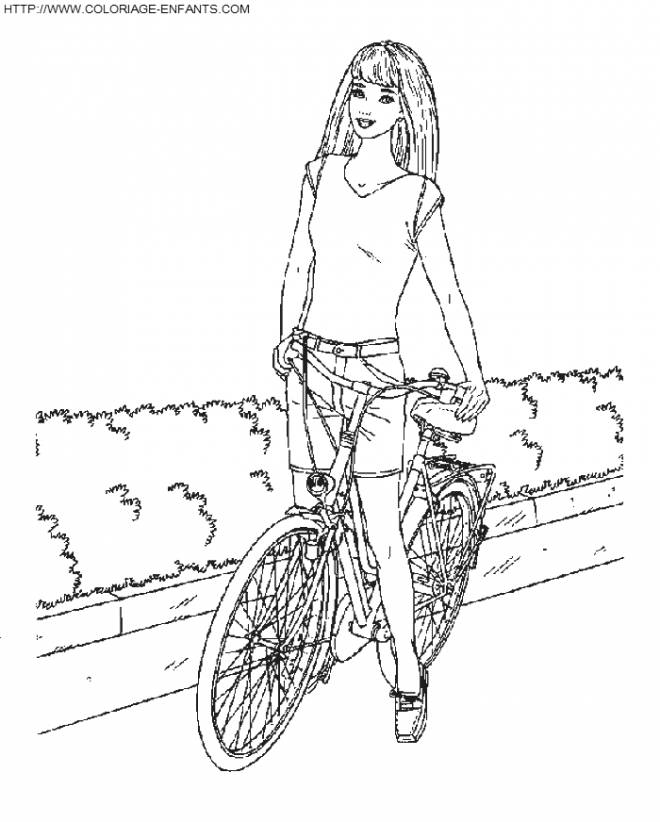 Free coloring and drawings Barbie on her Bike Coloring page