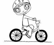 Coloring pages Child on his Kawaii Bike