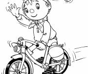 Free coloring and drawings Cute cartoon cyclist Coloring page