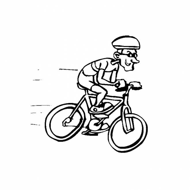 Free coloring and drawings Cyclist and his fast bike Coloring page