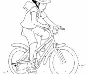 Free coloring and drawings Cyclist girl coloring Coloring page