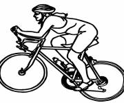 Coloring pages Cyclist on mountain bike