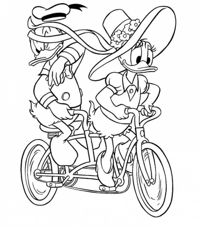 Free coloring and drawings Donald duck on funny bike Coloring page